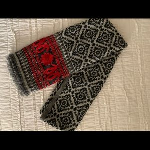 Lucky Brand embroidered wool scarf
